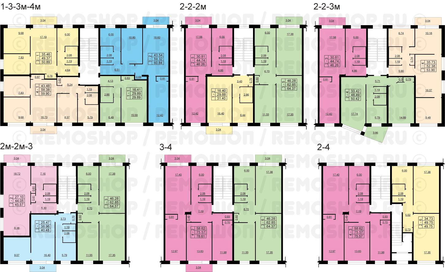 Фасады дома серии 1-464а с обоих сторон сдвоенные балконы.